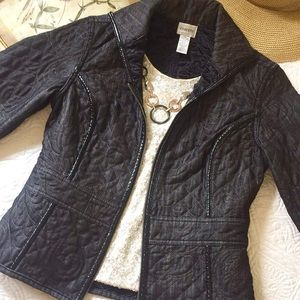 Chico's dark denim floral quilted jacket